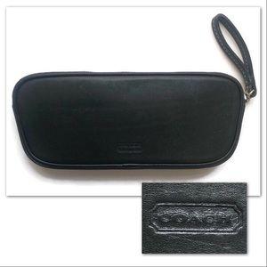 Vintage Coach Glasses Case Black Leather Zipper